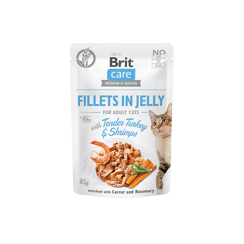 Brit Care Cat - Fillets in Jelly with Tender Turkey & Shrimps