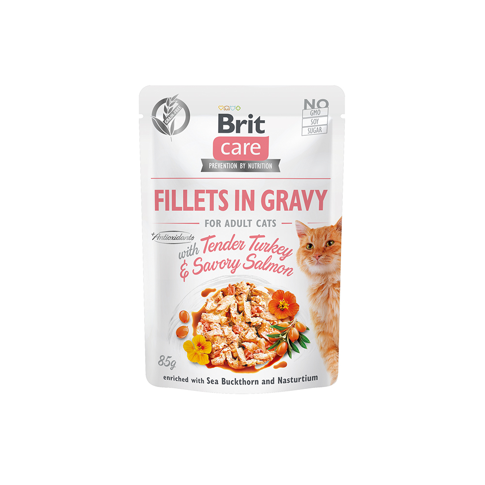 Brit Care Cat - Fillets in Gravy with Tender Turkey & Savory Salmon