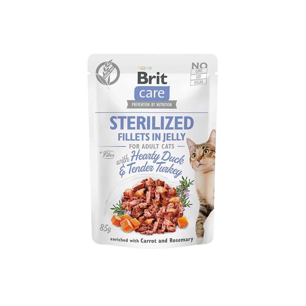 Brit Care Cat - Fillets in Jelly with Hearty Duck & Tender Turkey - Sterilized