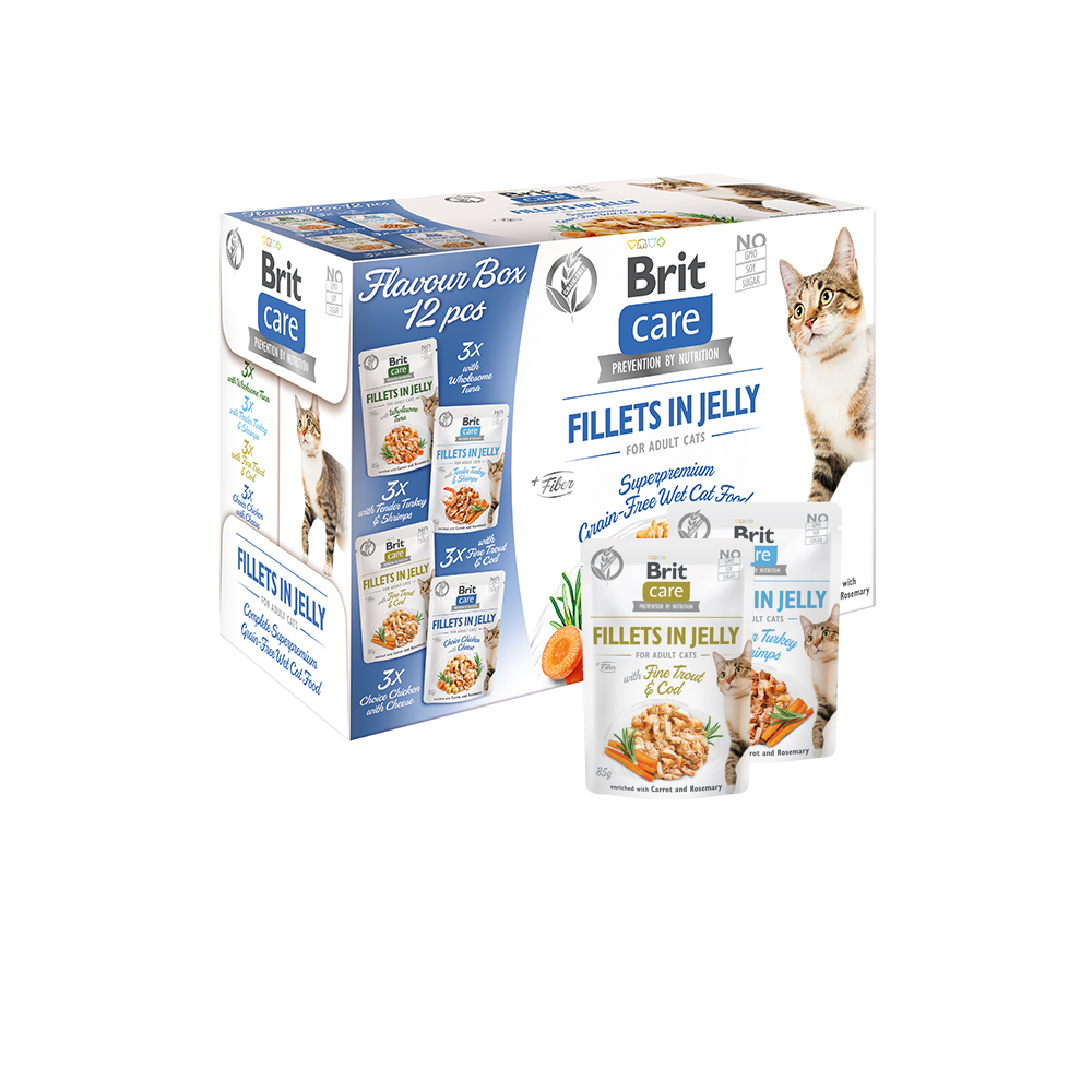 Brit Care Cat Flavour box - Fillets in Jelly (12er Pack)