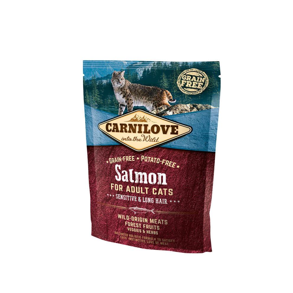 Probe Carnilove Katze - Salmon/ Sensitive & Long Hair für Langhaarkatzen