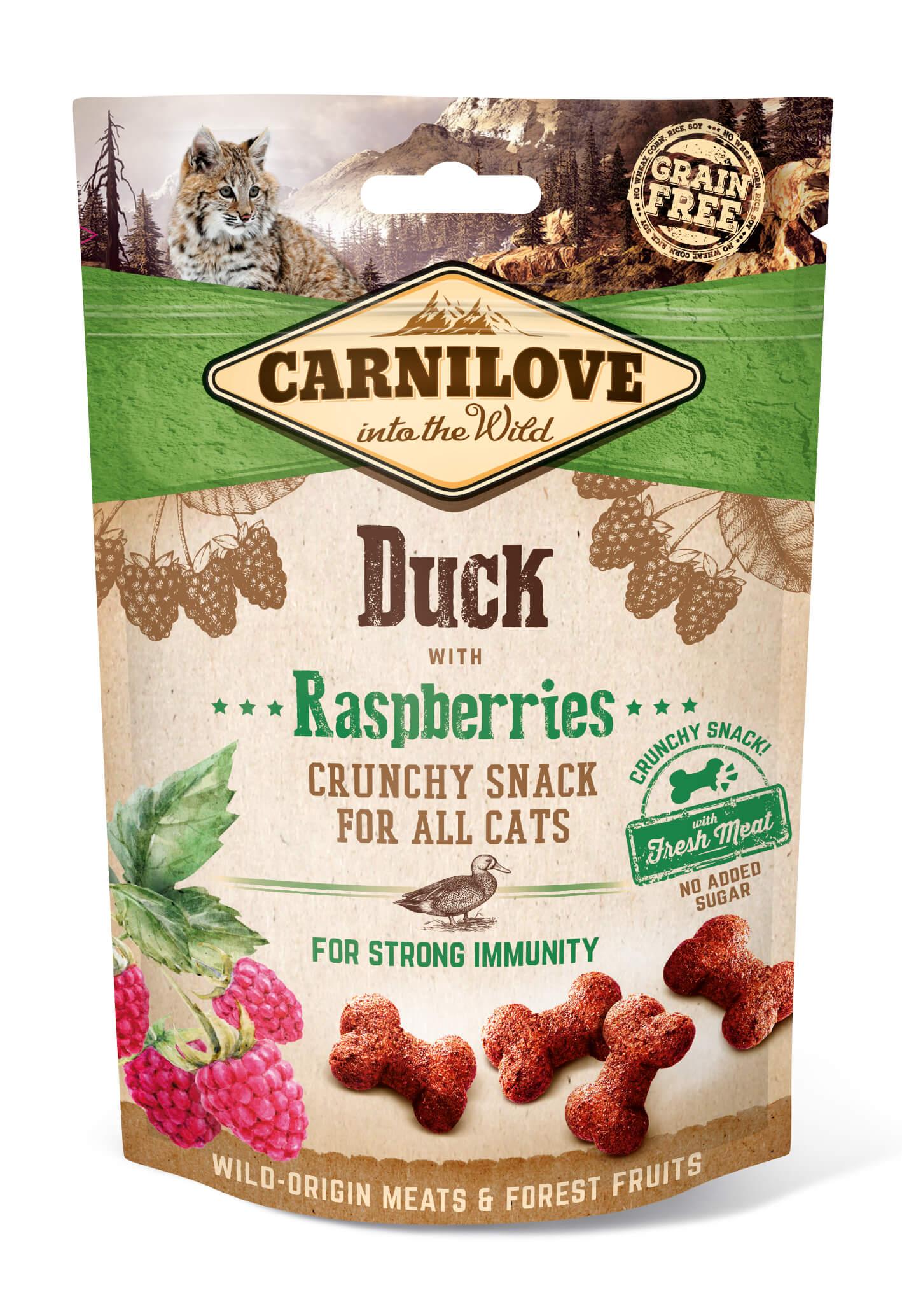 Carnilove Katze Crunchy Snack – Duck with Raspberries