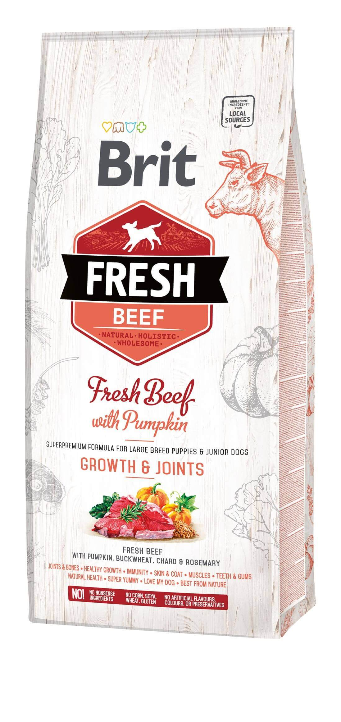 Brit Fresh Hund  – Puppy & Junior Large Breed – Beef –  Growth & Joints