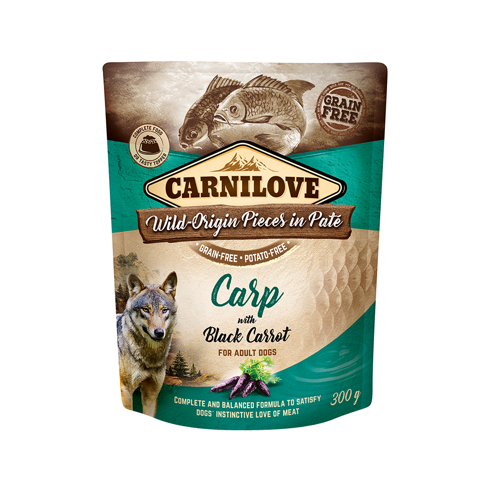 Carnilove Hund Pouch – Carp with black Carrot